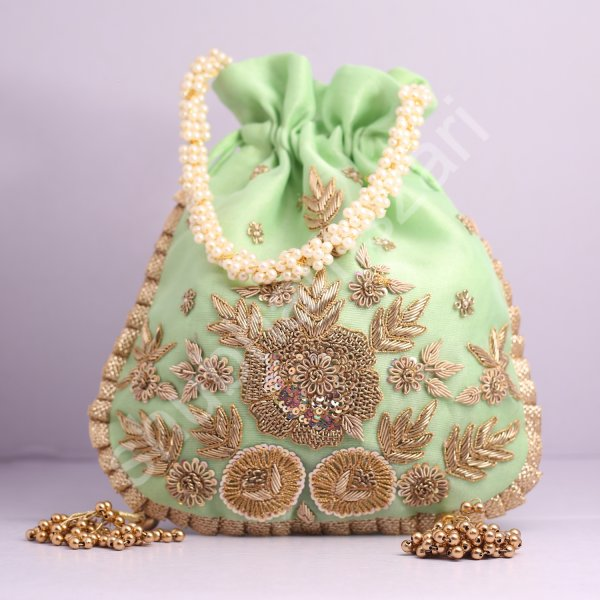 Wedding Hand Crafted Potli Bag With Beaded Chain For Women|| Evening Bags|| Embroidery Handbag