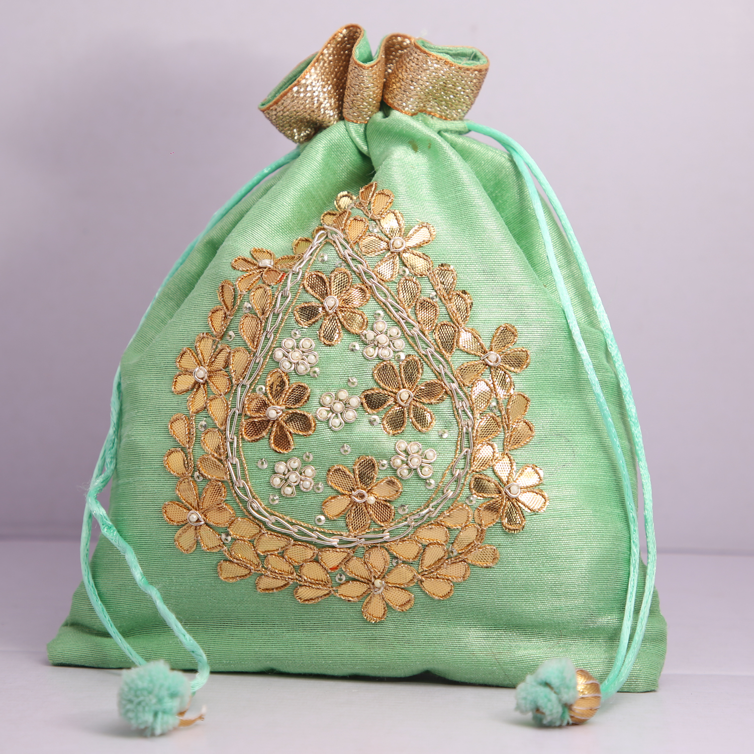 Pack Of 10/50 Wedding Favor Gift Hand Crafted Potli Bag With Beaded Chain For Women|| Evening Bags|| Embroidery Handbag||Gift||Return Gift||