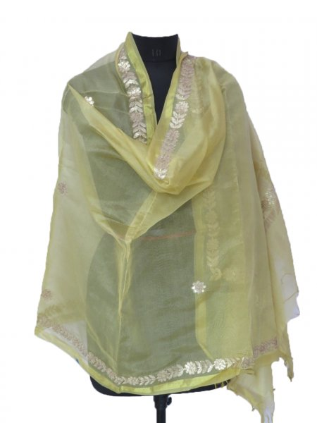 Indian Handmade Gota Patti Work Beige Color Dupatta Scarves/ Scarfs/ Dupatta/ Women Scarf/ Stole For Girls