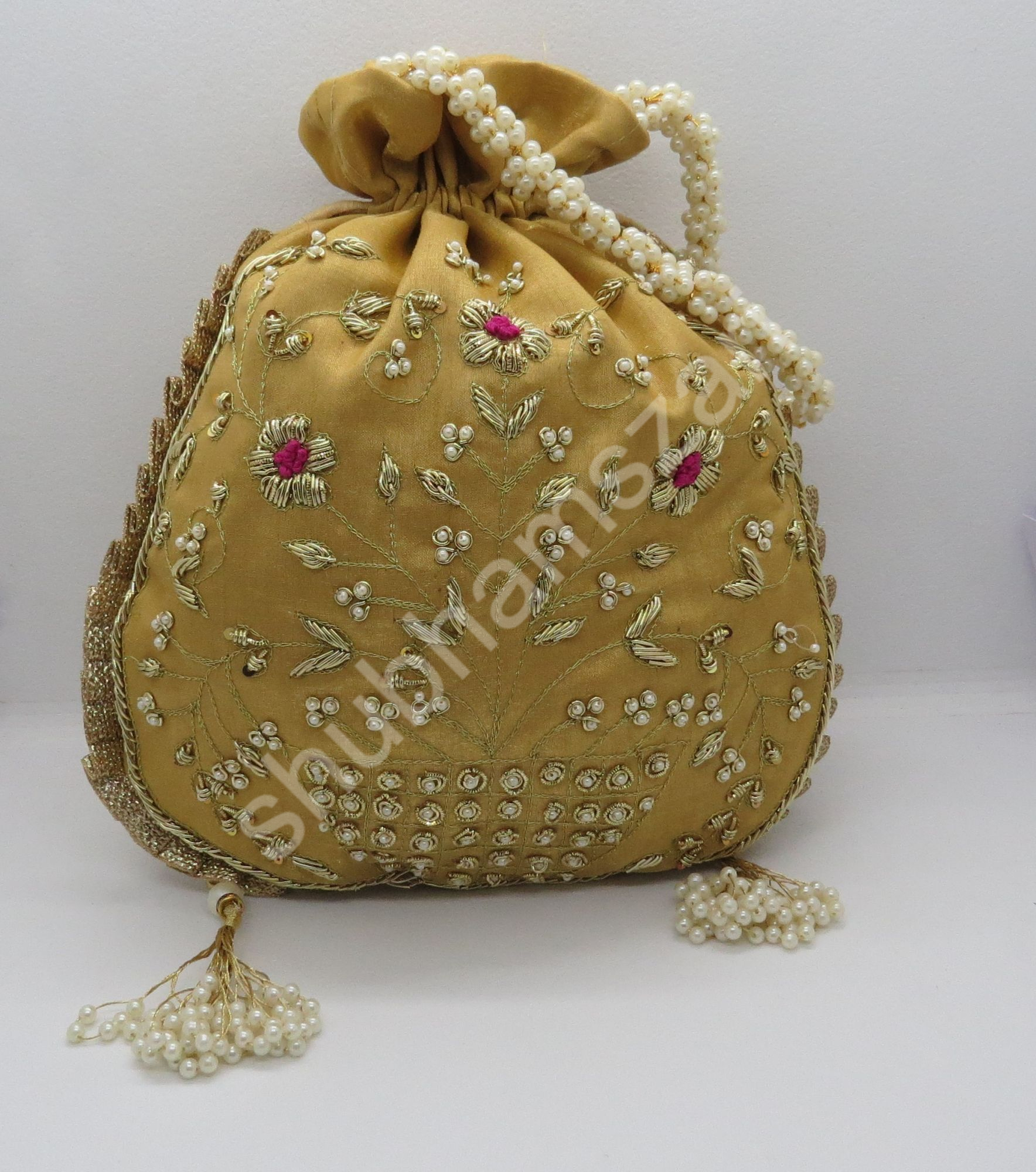 Golden embellishment sequin and pearl bead evening bag for women | silk fabric handbag woman | designer hand bag for woman