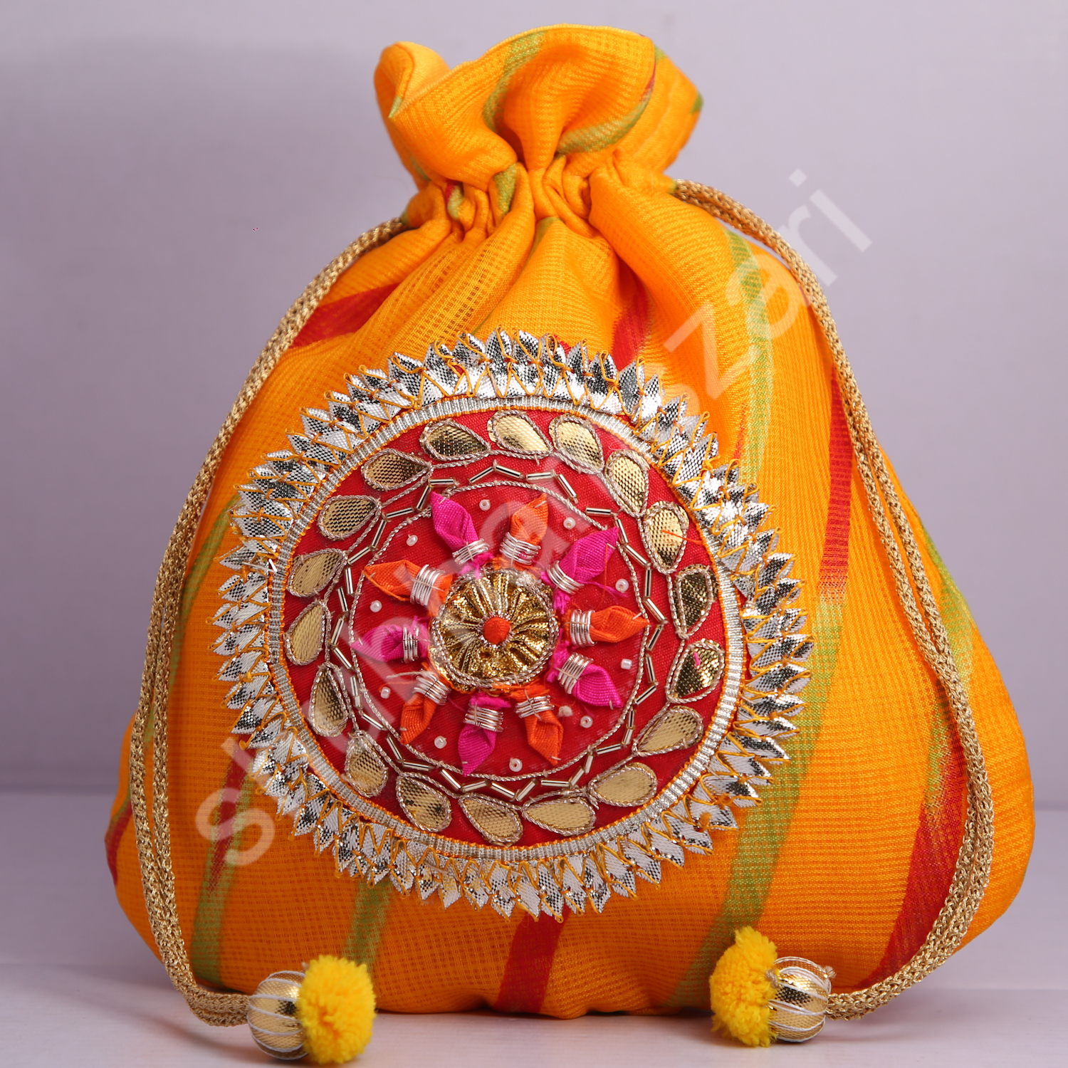 1.Wedding Hand Crafted Potli Bag With Beaded Chain For Women|| Evening Bags|| Embroidery Handbag