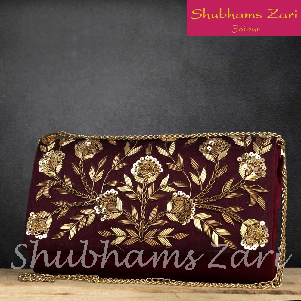 Wine Red Hand Crafted Designer Zardosi work Clutch For Women