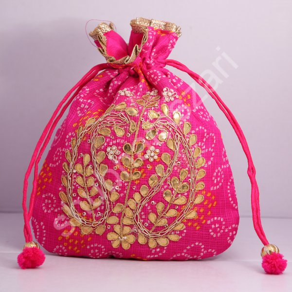 5.Wedding Hand Crafted Potli Bag With Beaded Chain For Women|| Evening Bags|| Embroidery Handbag