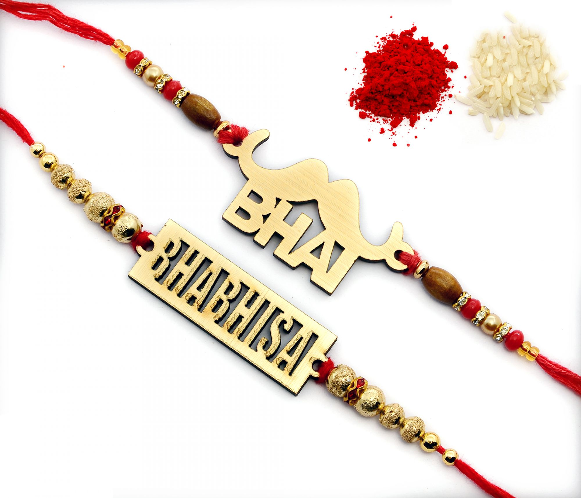 EXCLUSIVE CUT WOODEN BHAIYA BHABHI RAKHI SET