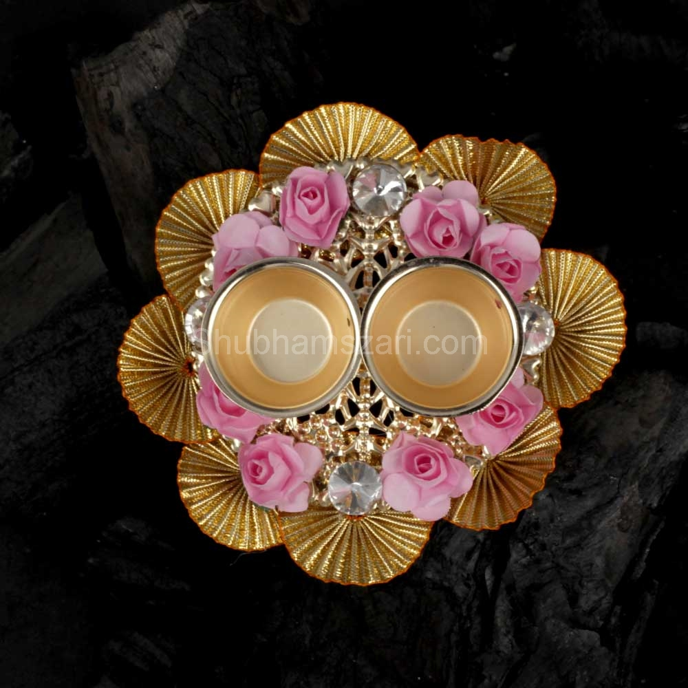 Exquisite Floral Studded Pooja THALI Set