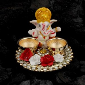 Exquisite Pearl & God Studded Pooja THALI Set