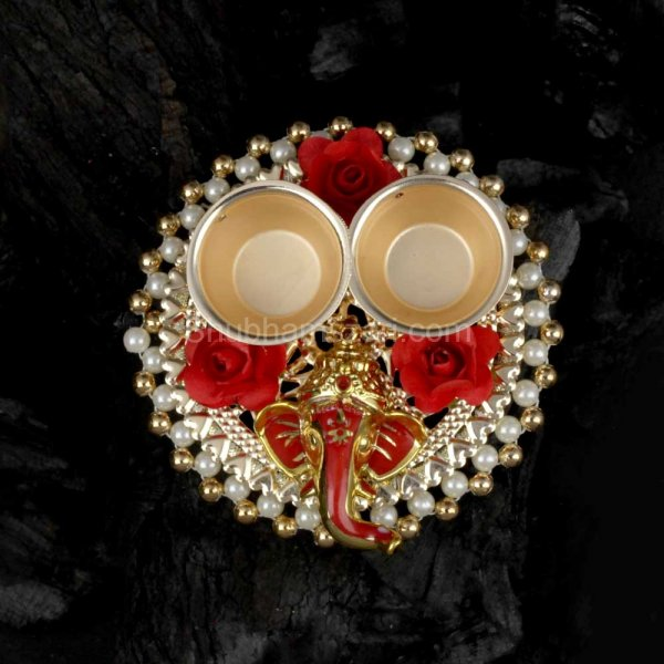 Exquisite Pearl, Floral & God Studded Pooja THALI Set