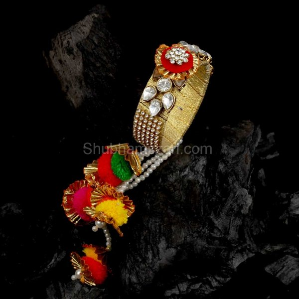 Gotta Pati Cz. Pearl Studded Lumba Rakhi With Bangle