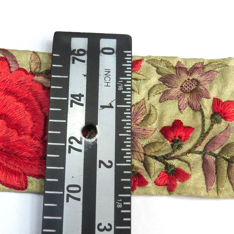 Red Embroidered Beige Fabric Trim Embellishment Indian Trim || Sari Border Decorative Sewing Crafting Lace || beige lace by the yard