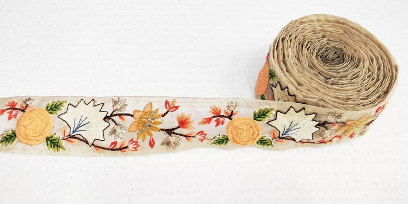Beige Organza Fabric Hand Embroidered Floral Trim For Sewing || Crafting Ribbons || Decorative Trims