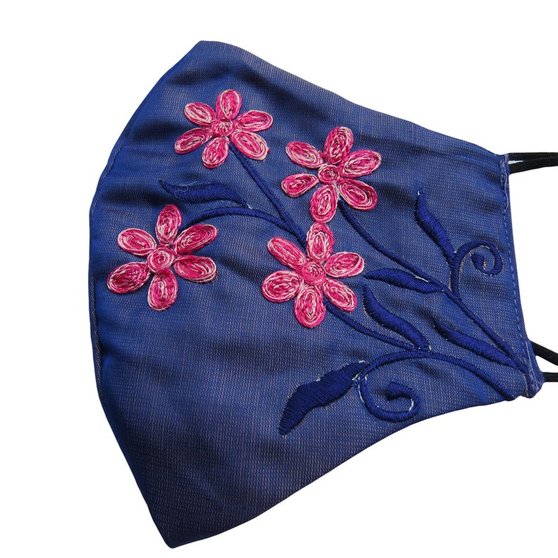 Pink & Blue Floral Embroidered Shinning Blue Dupion Silk Fabric Cotton Base Face Mask Wedding Mask || beautiful woman face mask