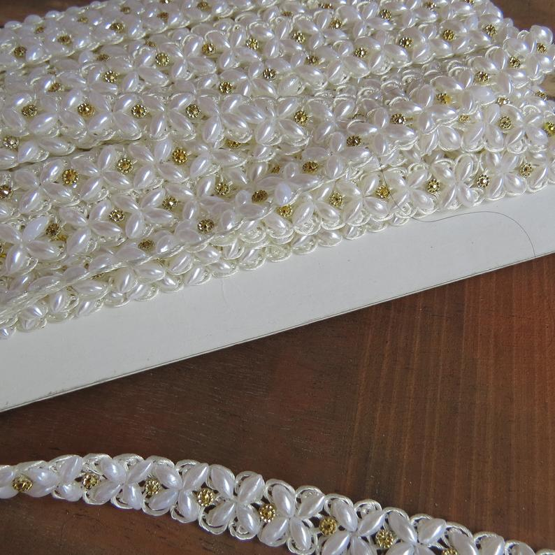 9 MTR Wholesale Joblot Pearl stone Saree Suit Lace Border Trim, bridal Trim, Luxury Rhinestone Crystal Applique | decorative trim by the yard