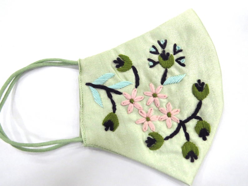 Pistachio green silk fabric thread embroidered beautiful woman face mask | designer face mask covering | embellish face mask for woman