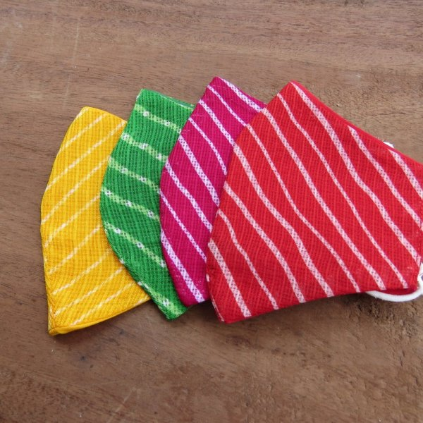 Pack of 4 Assorted Multi Coloured Bandhej Fabric Wasable Face Mask