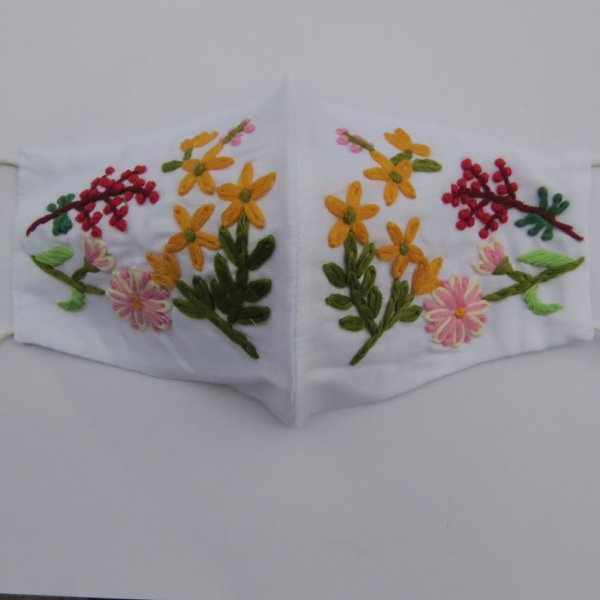Red berrys & flower thread embroider white mask for woman | beautiful woman face mask | fancy face mask for wedding with embroidery