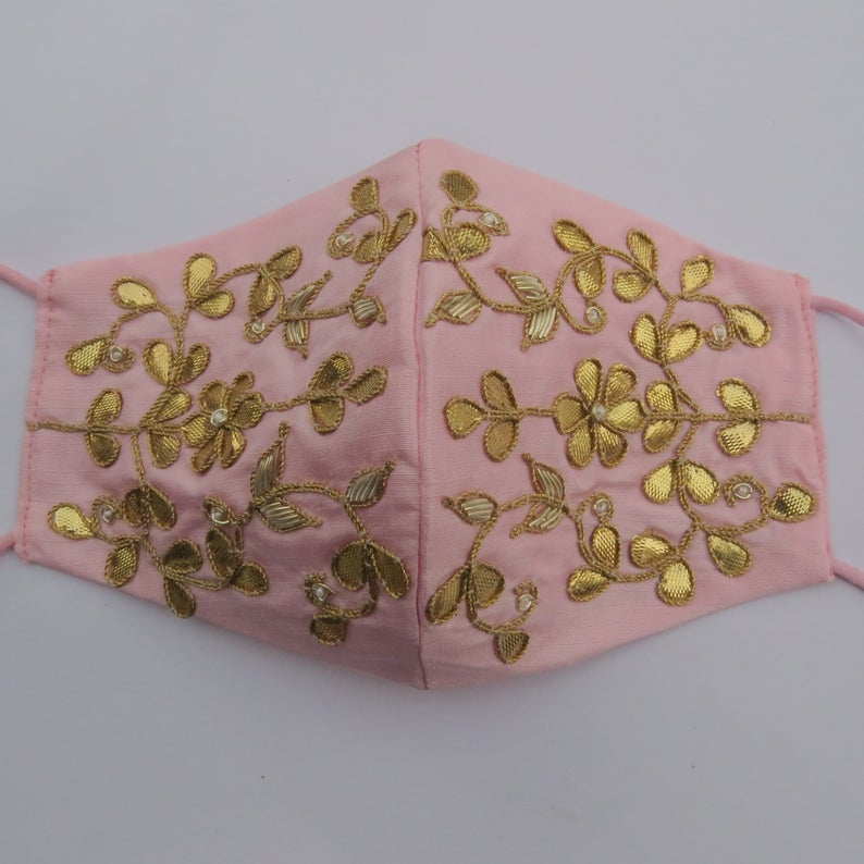 pink silk fabric golden gota patti work indian wedding bridal party face mask | face mask for saree | embellishment face mask covering