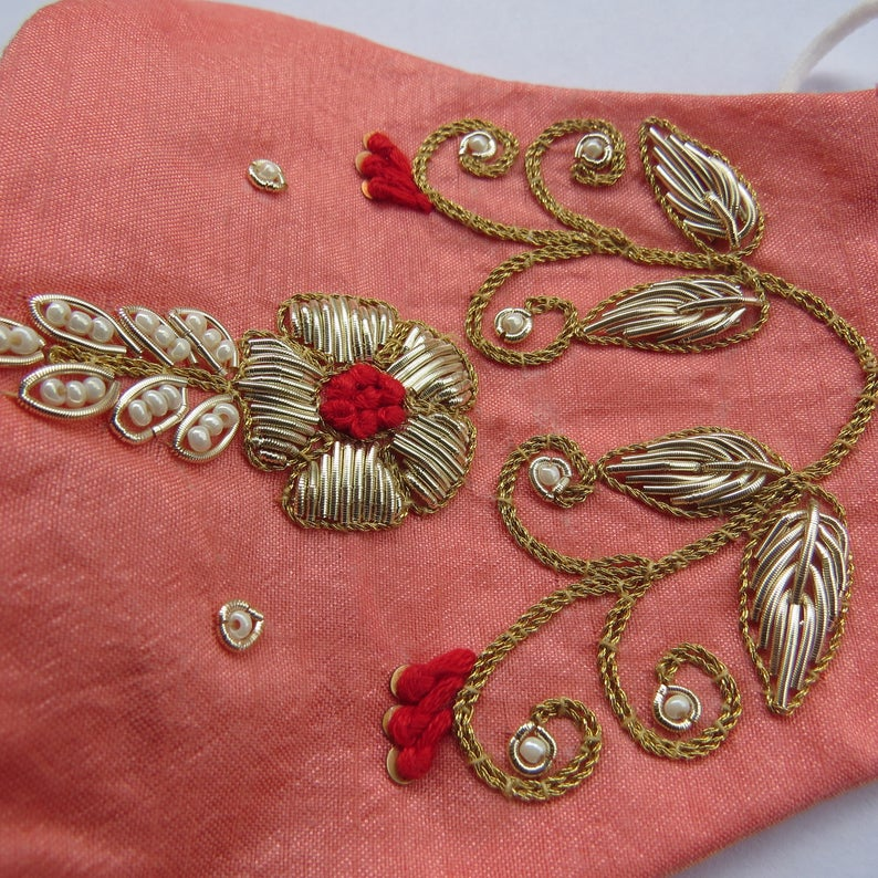 Tradtional Indian Wedding Handmade Zardosi Embroidered Face Mask