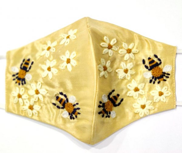 Golden Silk Fabric Bee & Floral Texture Thread Embroidery Shining FaceMask Evening Party Face Mask