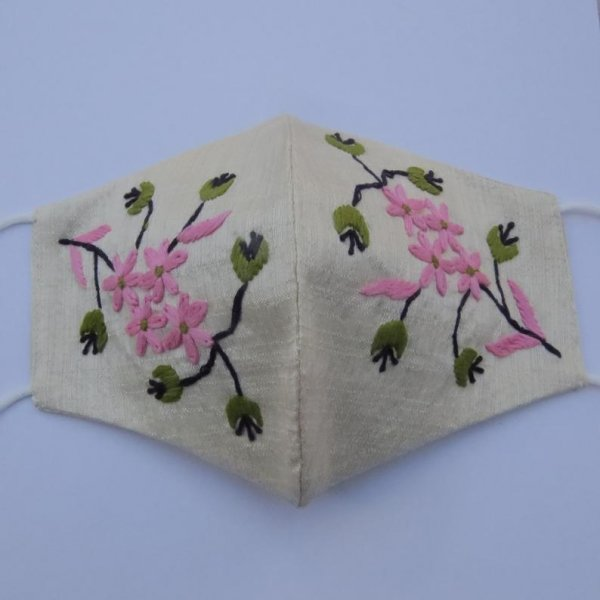 pink green floral texture artisan thread embroidery women embellishment face mask covering | beige raw silk fabric face mask for adult
