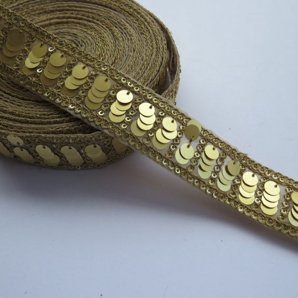 Golden Coin Lace Border Boho Belly Dance Fringe Trim with Coins