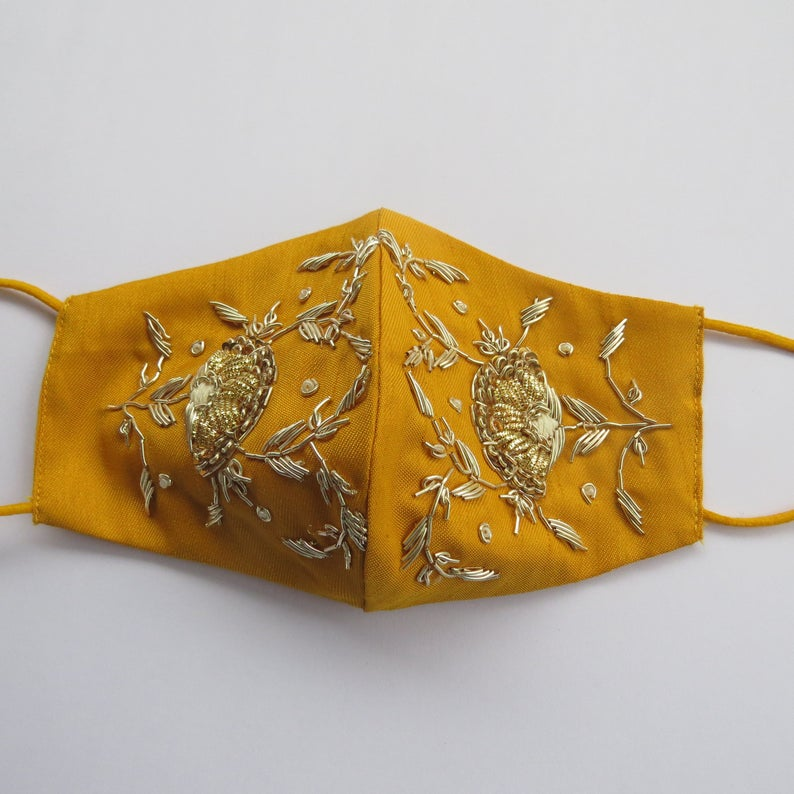 Dark yellow silk fabric golden zardosi hand embroidered indian wedding face mask covering for women | indian bridemaids face mask