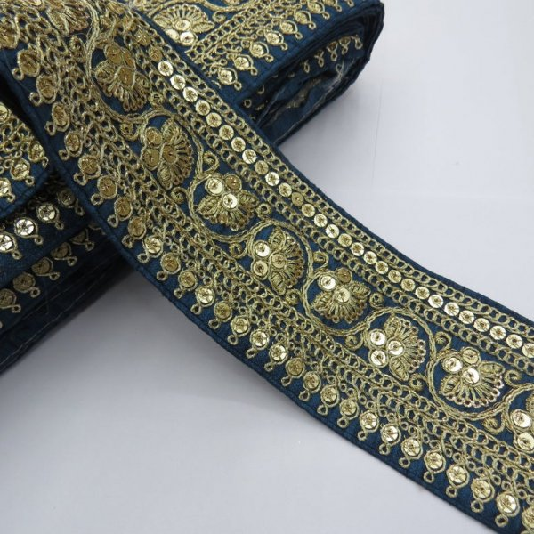 Traditional indian saree embellish golden sequin beaded teal silk beautiful lace edging | lace trim sari border dupatta