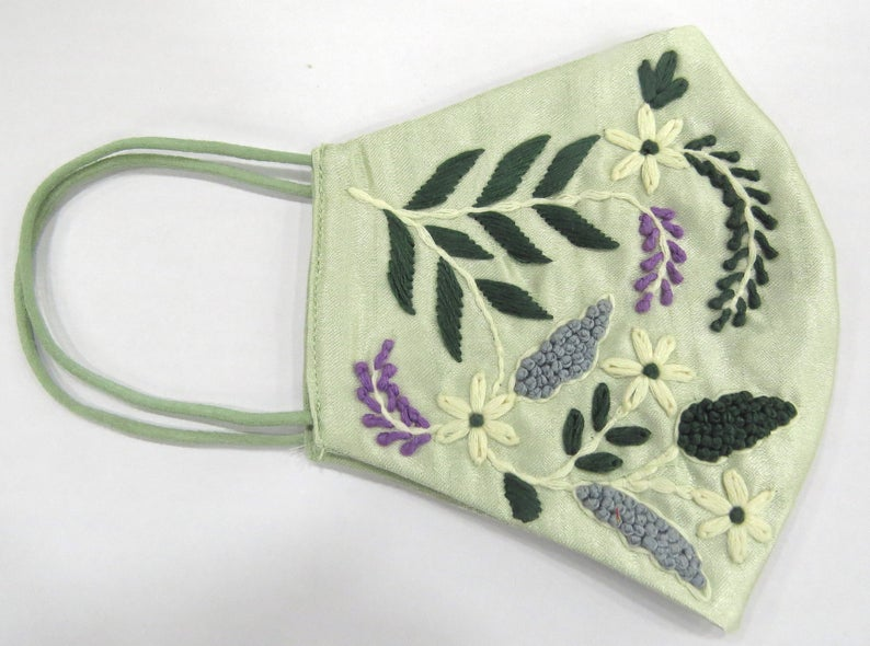 exclusive floral texture thread embroider artisian handmade face mask covering | pista green silk face mask | embellishment face covering