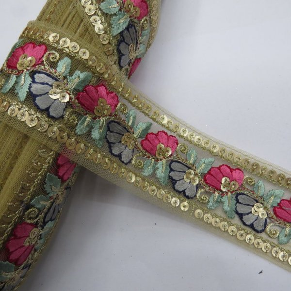 beige net fabric multi color floral texture 9 yard wholesale embroidery lace trim | decorative trim for sewing