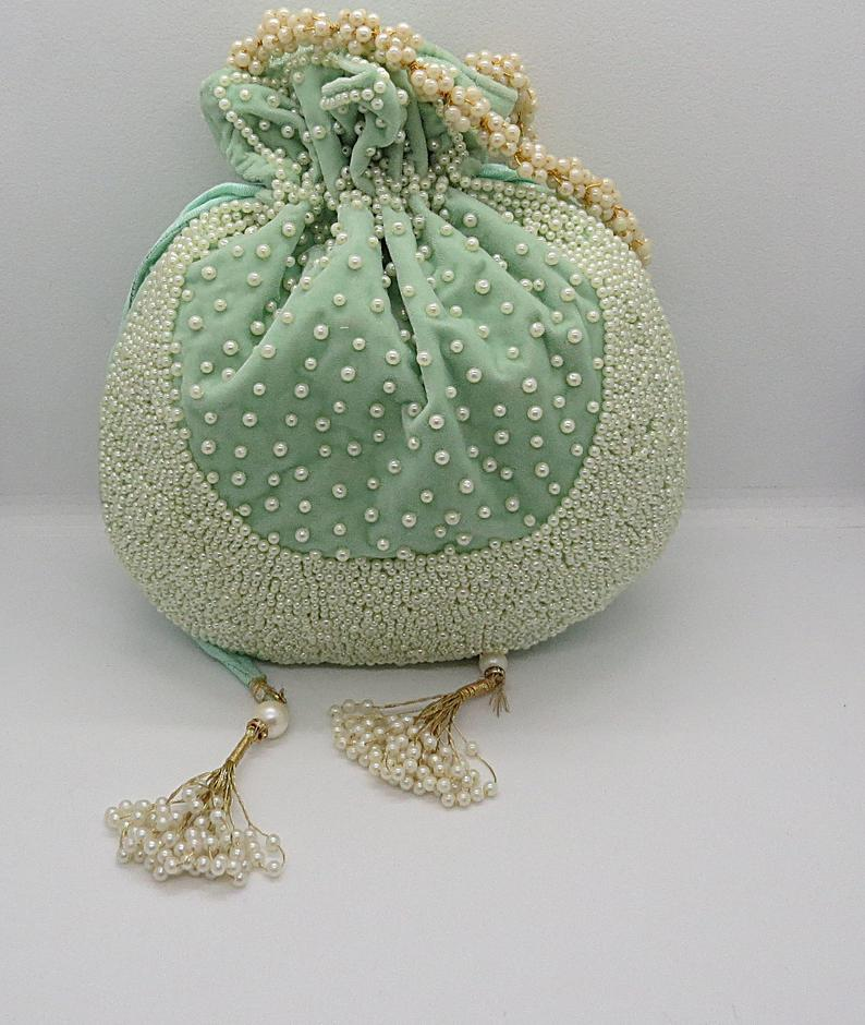 Beautiul Handmade Beaded Pearl Zardosi Cut Work Embroidered Potli Bag Women Handbag Pouch For Special Occasion Silk Fabric