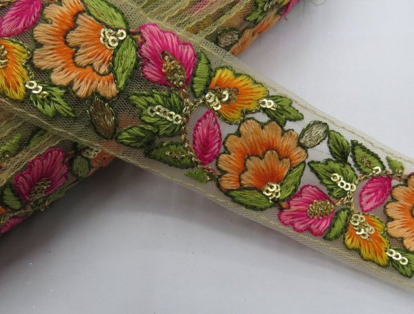 Embroider Beige Fabric Trim Multi Embroidered Saree Lace Crafting Border Cushion Covers Table Runner Trimming