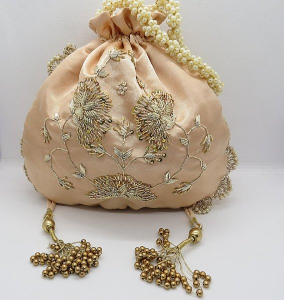 French knot zardosi sequin embroiderer embellish designer inspired potli bag handbag for woman | art deco silk handbag for ladies | indian wedding bag