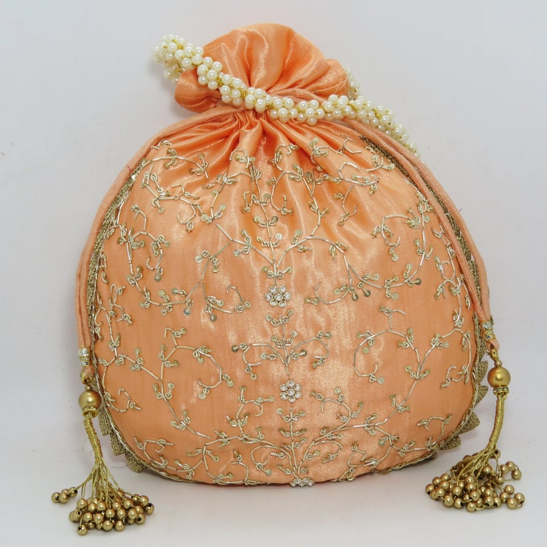 traditional indian golden zardosi sequin embroider wedding giveaway bag potli | beautiful handmade gifting drawstring purse for woman
