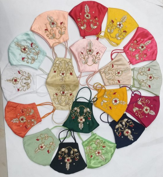 Pack of 5 Assorted Multi Coloured Traditional  Zardozi Flower Hand Thred Zardozi Face Mask (No Colour Salection)