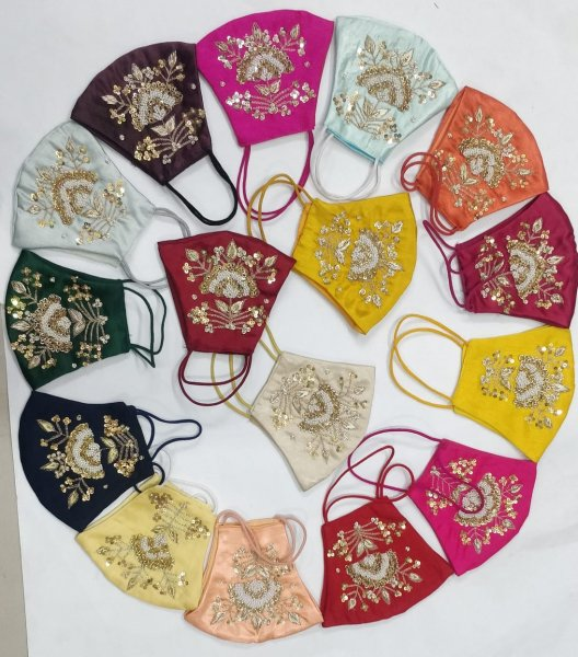 Pack of 5 Assorted Multi Coloured Traditional  Moti Pearl Work Hand Zardozi Face Mask (No Color Selection)