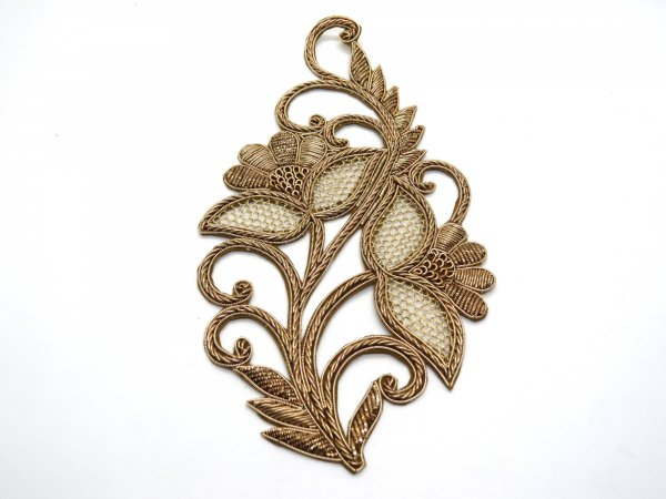 indian antique gold finish zarodsi embroider leaf applique decorative metal patch for outfits | sewing buty patch for indian wedding dress