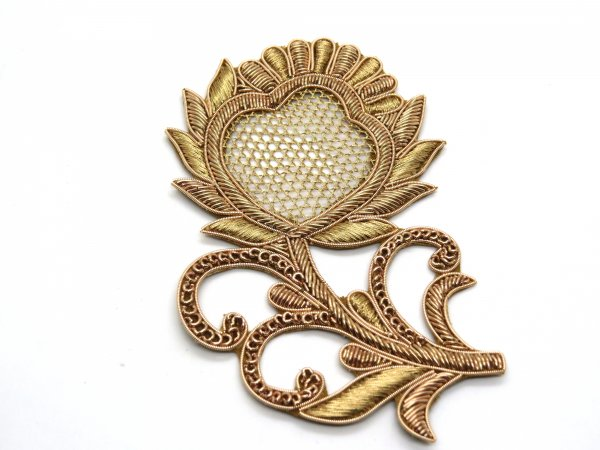 Pack of 2/3 pcs antique gold color metal zardosi dabka embroider floral applique wedding bridal dress patch size 13X8