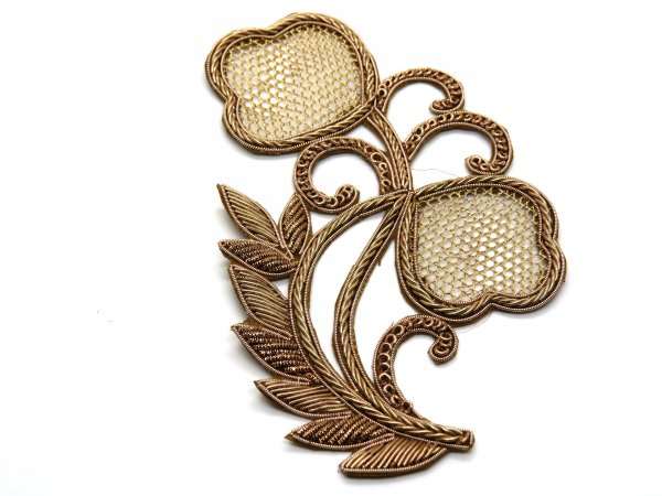 Pack of 2/3 pcs bubble leaf texture handcraft zardosi cutwork antique gold embroidery applique dress patch  size 14X8