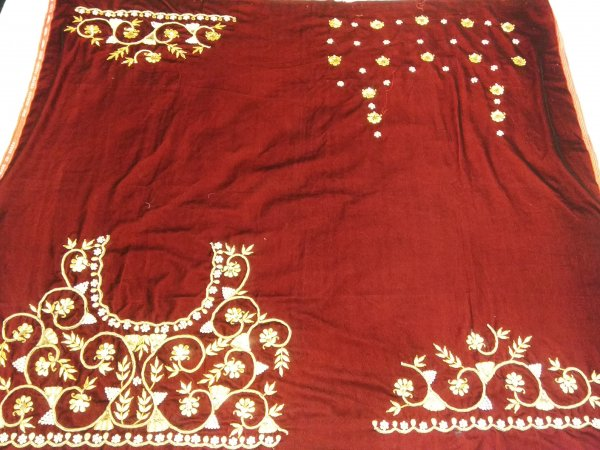 Red Velvet Beautiful Hand zardozi Gota Work /Tikki work Thread Jari And Hevy Handwork/ Sari Blouse /Saree Top/ For Women