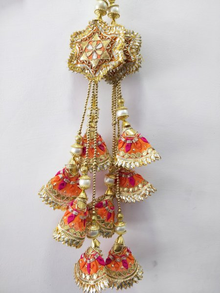 Traditional Orange Gold Gota Patti Hand Embroidered Traditional Indian Sareee Lehnga Blouse Tassel Fancy Purse Hanging Craft Sewing