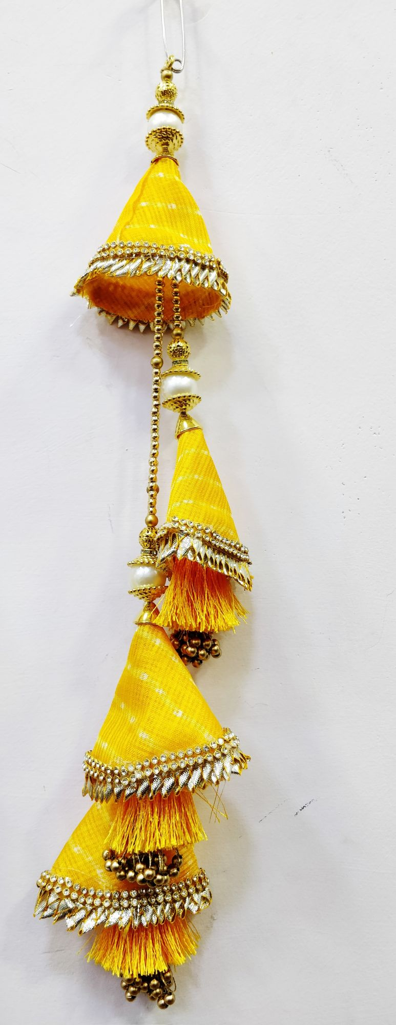 Traditional  lehriya mothra wiith thred Indian Lehnga Blouse Saree Latkan Tassels Hanging Craft Sewing