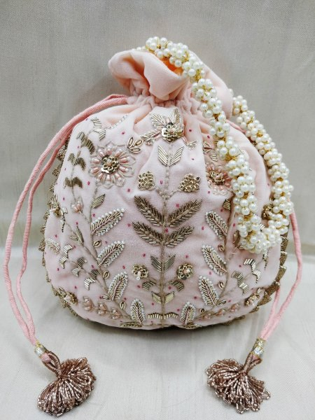 Wedding floral texture zardosi embroidered indian wedding pink velvet potli bag handbag for women | party favor bag indian wedding