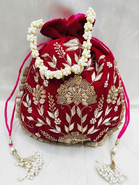 Hand made golden zardosi embroidered embellish indian wedding velvet pink potli bag handbag for women | designer hand bag for woman