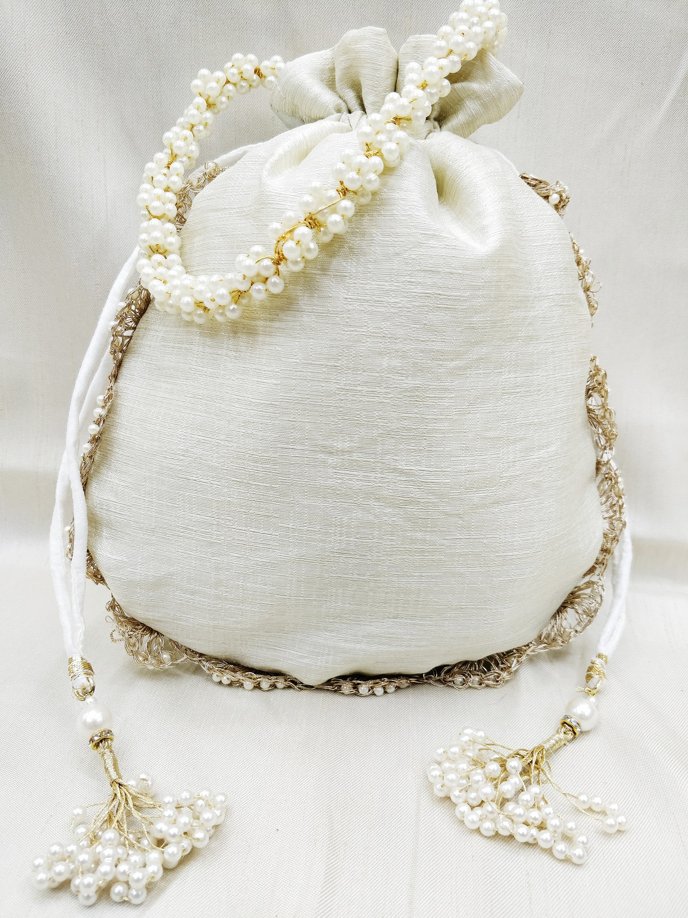 Beautiful zardosi Gota Patti pearl beaded women handbag potli bag | bridal party bridesmaid bag | designer off white handbag for woman