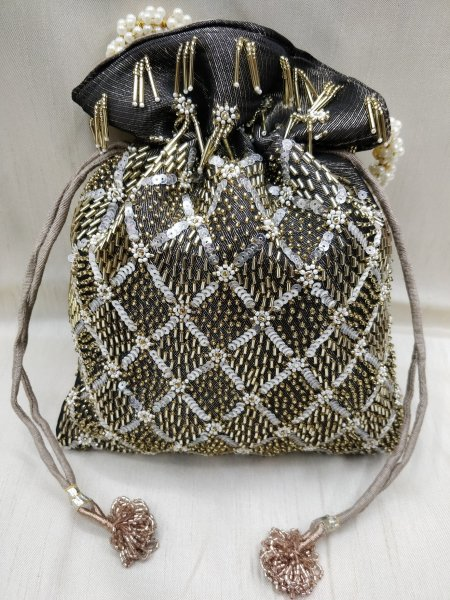 Beautiful handmade golden tubes and sequin beaded embellish women handbag potli | embroider black and gray handbag