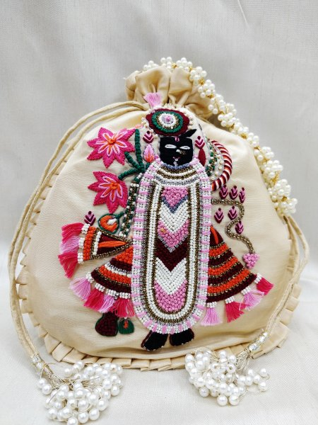 Indian Srinath Ji God Tradtional Zardosi Work Beaded Potli Bag For Puja,Wedding Festival Handbags Multi Hand Work Handbag Women's Purse