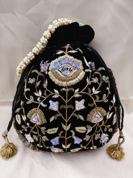Embellish golden zardosi embroidered indian wedding navy blue velvet potli bag handbag for women | party handbag for bridesmaid