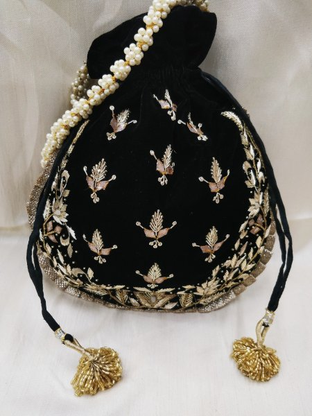 golden zardosi embroidered indian wedding black velvet potli bag handbag for women | party handbag for bridesmaid