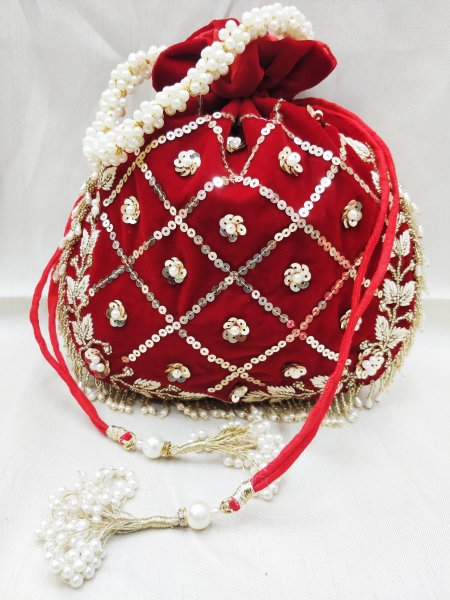 Beautiful golden zardosi embroidered embellish indian wedding red velvet potli bag handbag for women | designer inspired hand bag for woman