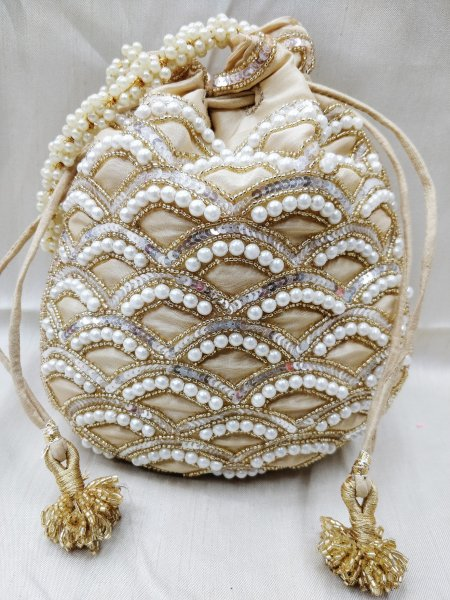 Indian potli bag, Pearl hand embroidery, handmade, bridal potli, wedding bag, designer potli, handbag