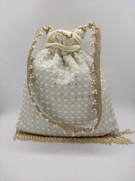 Beautiful off white Thred embroidery organza fabric woman bag || Chikan work drawstring inspired handbag purse potli bag